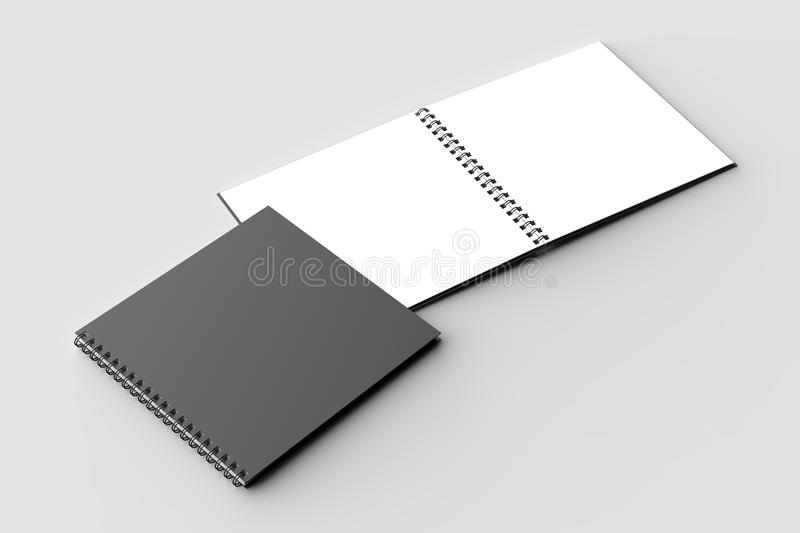 Spiral binder square notebook mock up with black cover isolated. On soft gray background. 3D illustration royalty free illustration
