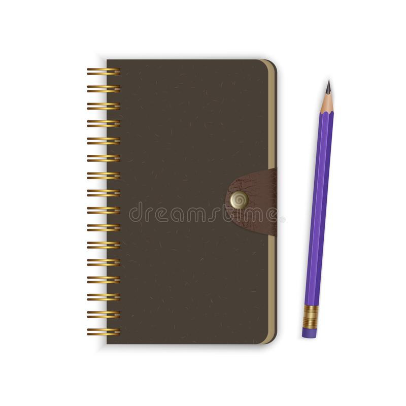 Spiral binding notebook or notepad and pencil isolated on white background, Realistic closed Sketchbook or diary. Vector EPS 10 royalty free illustration