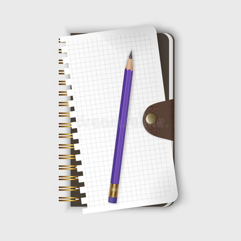 Spiral binding notebook or notepad and pencil isolated on white background, Realistic closed Sketchbook and sheet of paper. Vector. Spiral binding notebook or vector illustration