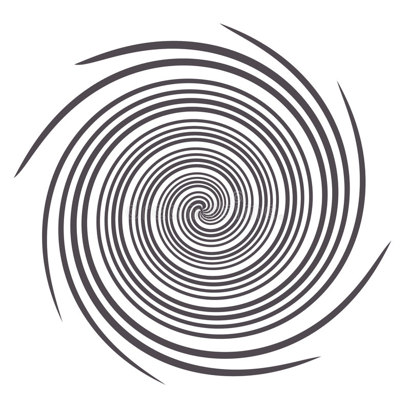 Spiral Black and White Graphic. Black and white graphic composed of lines that are twisted in a spiral pattern royalty free illustration