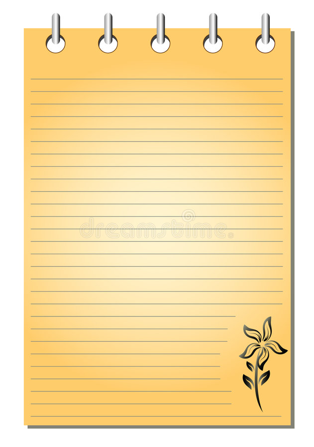 Spiral bound empty orange notepad stock illustration