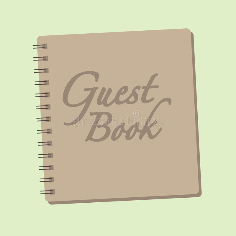 Spiral bound Guest book. Spiral bound Guestbook Illustration and Calligraphy stock illustration