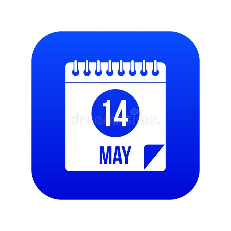 Spiral calendar page 14th of May icon digital blue stock illustration
