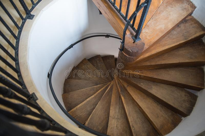 Spiral castle stairs made by wood royalty free stock photography