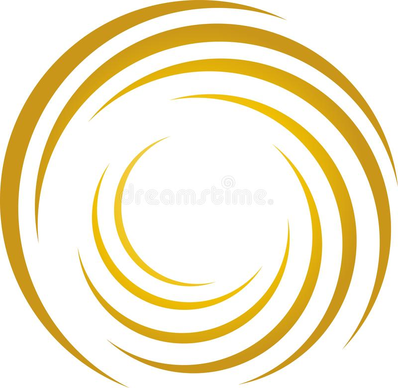 Spiral of circling in gold, music and sound background. Sky background, winter background, sun background, nature background, holiday background royalty free illustration
