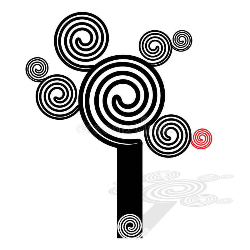 Spiral coil tree. Black and white - vector illustration vector illustration
