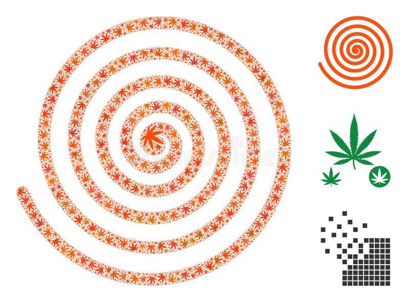 Spiral collage för hypnos av cannabis royaltyfri illustrationer