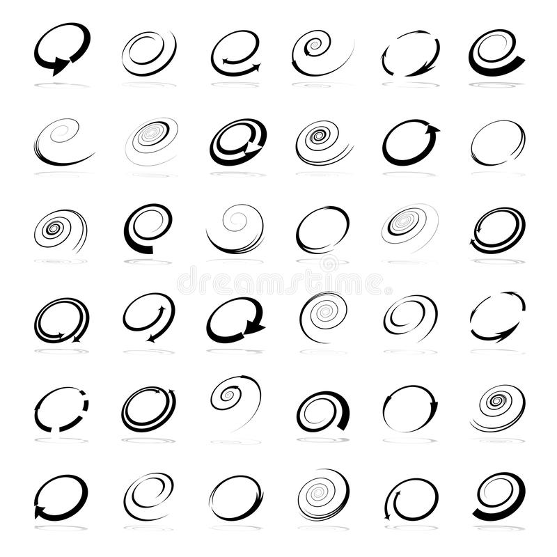 Spiral design elements. Abstract icons set. Vector art stock illustration
