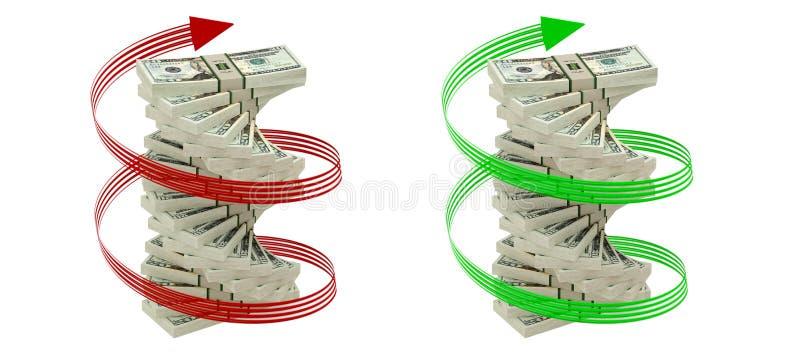 Spiral Of 20 Dollar Bills Stock Photos