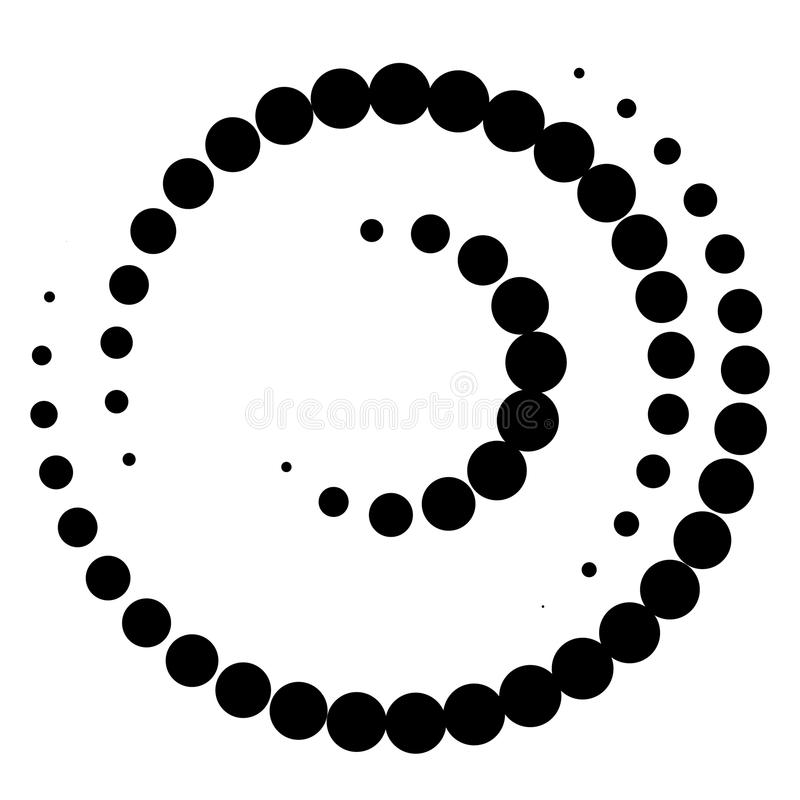 Spiral element with concentric circles. Abstract decorative elem vector illustration
