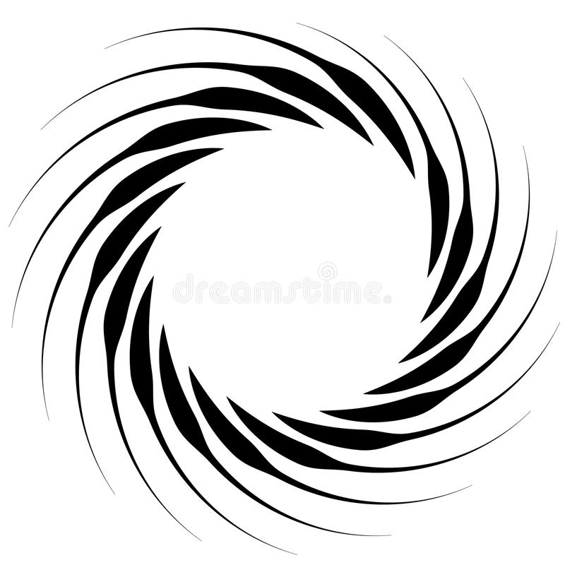 Spiral element. Concentric swirling shape with lines rotating in. Wards. Helix, volute illustration. - Royalty free vector illustration royalty free illustration