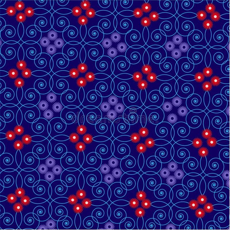 Spiral för garnering för abstrakt för rammodellblomma sömlöst för skönhet för sommar abstrakt begrepp för modell sömlös royaltyfri illustrationer