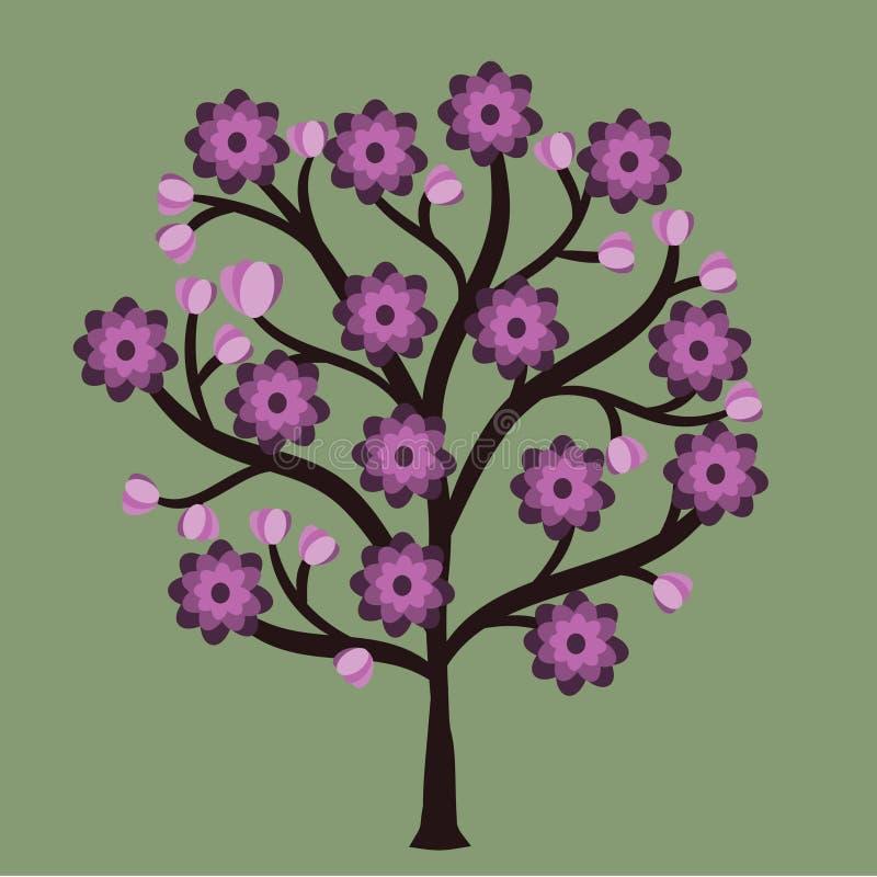 Spiral för garnering för abstrakt för trädprydnadmodell för blomma sömlöst för skönhet för sommar abstrakt begrepp för modell söm vektor illustrationer