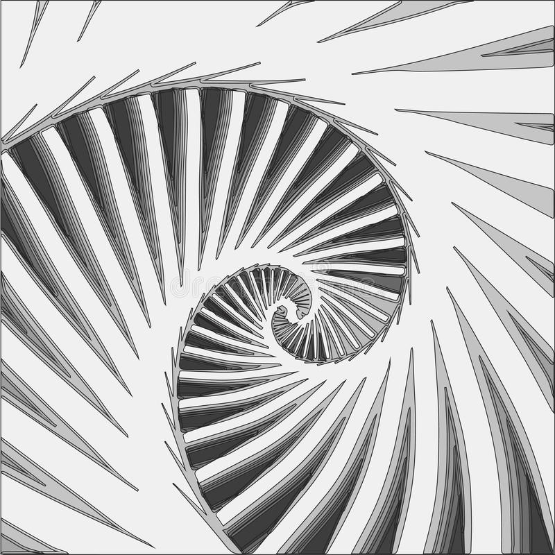 Spiral fractal in black and white. Line drawing of fractal spiral in black and white stock illustration
