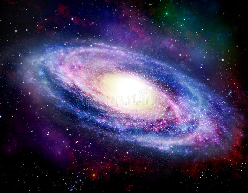 Spiral Galaxy. Illustration of Spiral Galaxy. Arms revolving around a center cluster of stars royalty free illustration