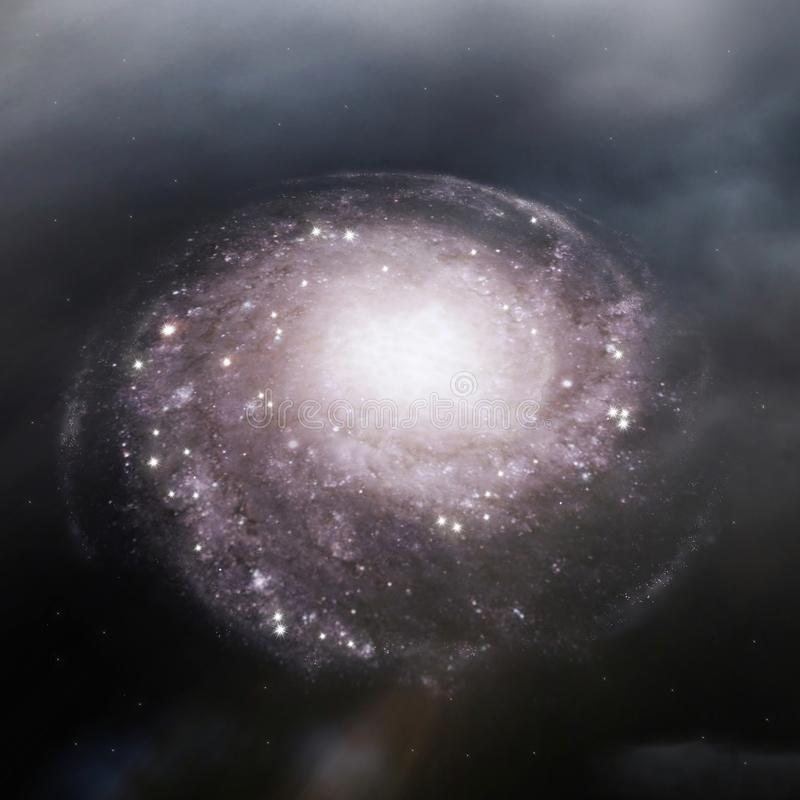 Spiral galaxy. Beautiful spiral galaxy in the outer space vector illustration