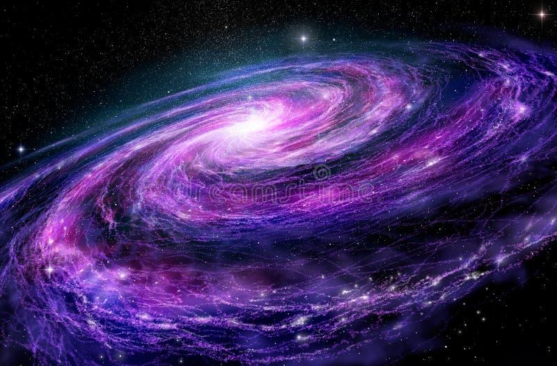 Spiral galaxy, 3D illustration of deep space stock illustration