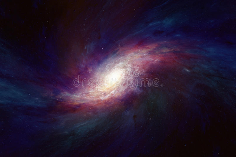 Spiral galaxy in deep space stock photo