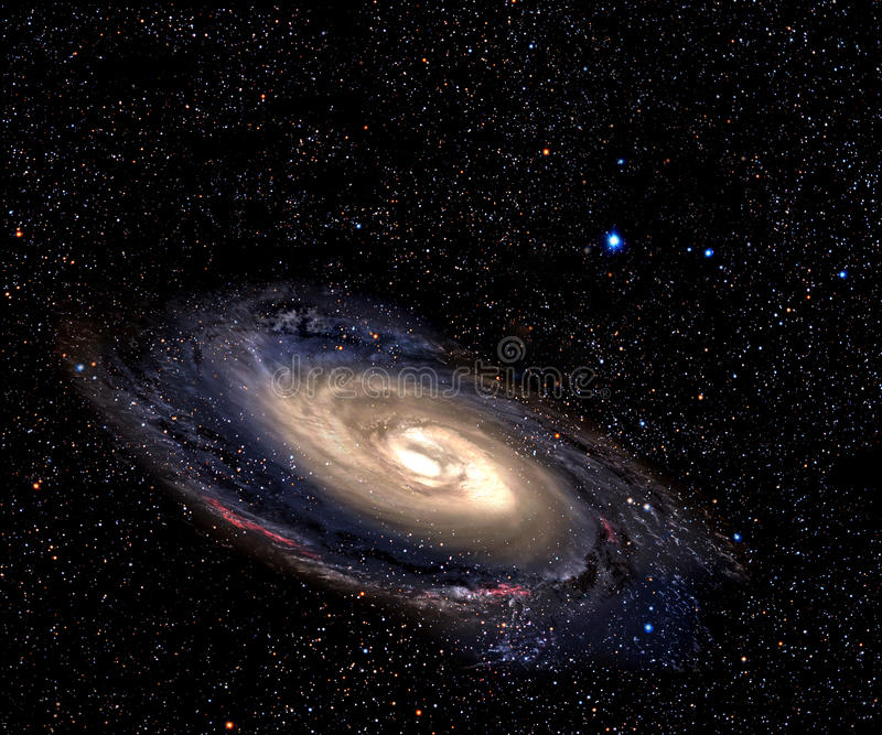 Spiral galaxy in deep space. stock illustration