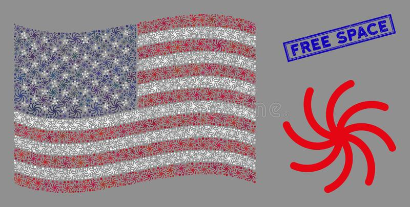 United States Flag Mosaic of Spiral Galaxy and Textured Free Space Stamp royalty free illustration