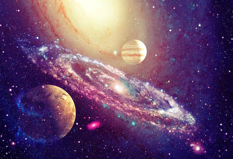 Spiral galaxy and planet in outer space. Elements of this image furnished by NASA stock images