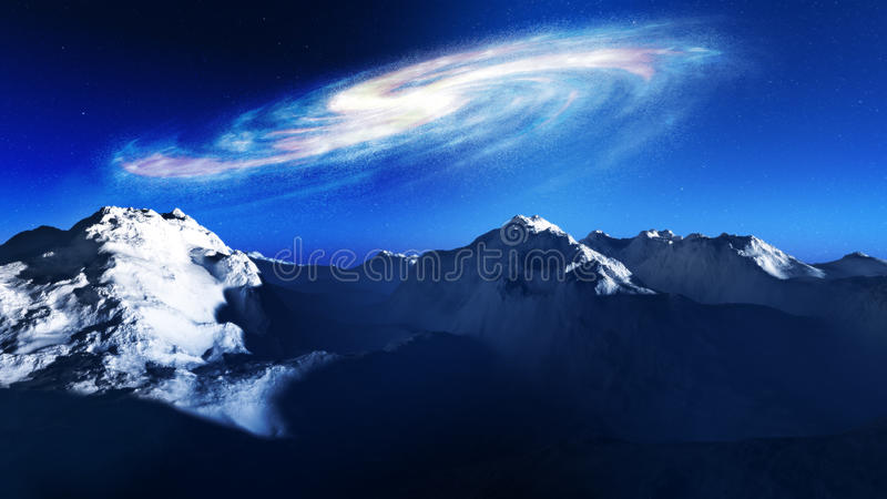 Spiral Galaxy Rising Over Mountains. Giant spiral galaxy rising over the majestic mountains during the sun rise. Fantasy type of science fiction natural stock illustration