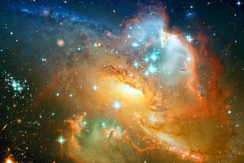 Spiral galaxy and stars in deep space. Elements of this image furnished by NASA stock illustration