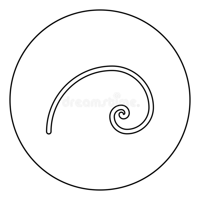 145. Spiral golden section Golden ratio proportion Fibonacci spiral icon in circle round outline black color vector illustration flat style simple image vector illustration