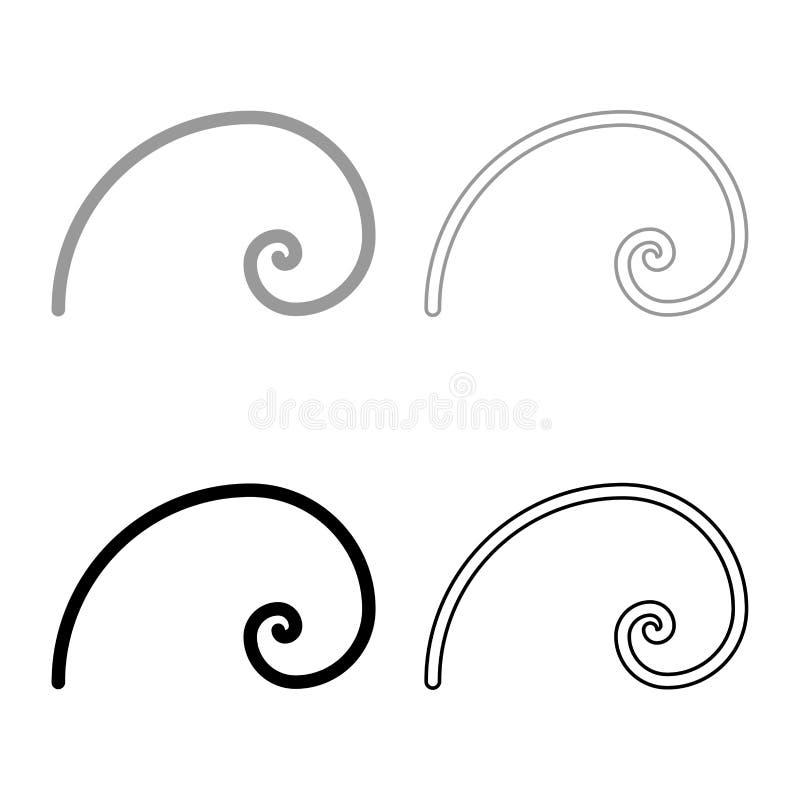 Spiral golden section Golden ratio proportion Fibonacci spiral icon set black color vector illustration flat style image. Spiral golden section Golden ratio vector illustration