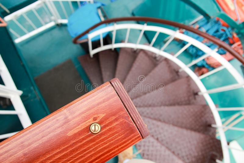 Download The Spiral Green Metal Wooden Staircase Descent Close Up Stock  Image   Image Of Interior