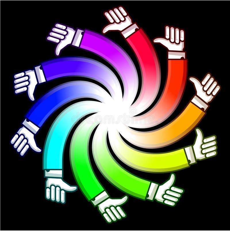 Spiral hand. Composition in multicolor version vector illustration