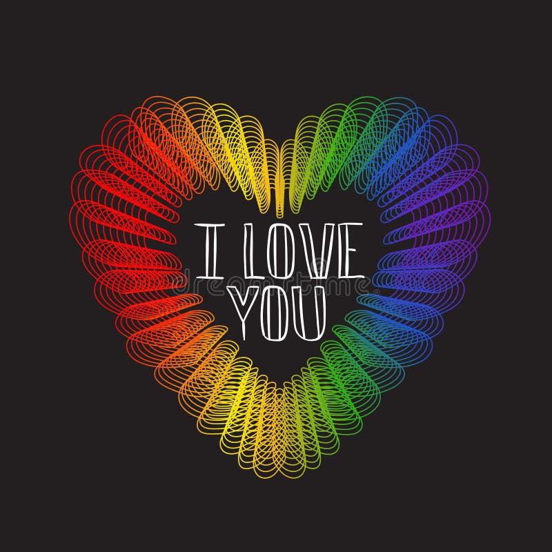 Spiral hjärta för regnbåge på svart bakgrund vektor illustrationer