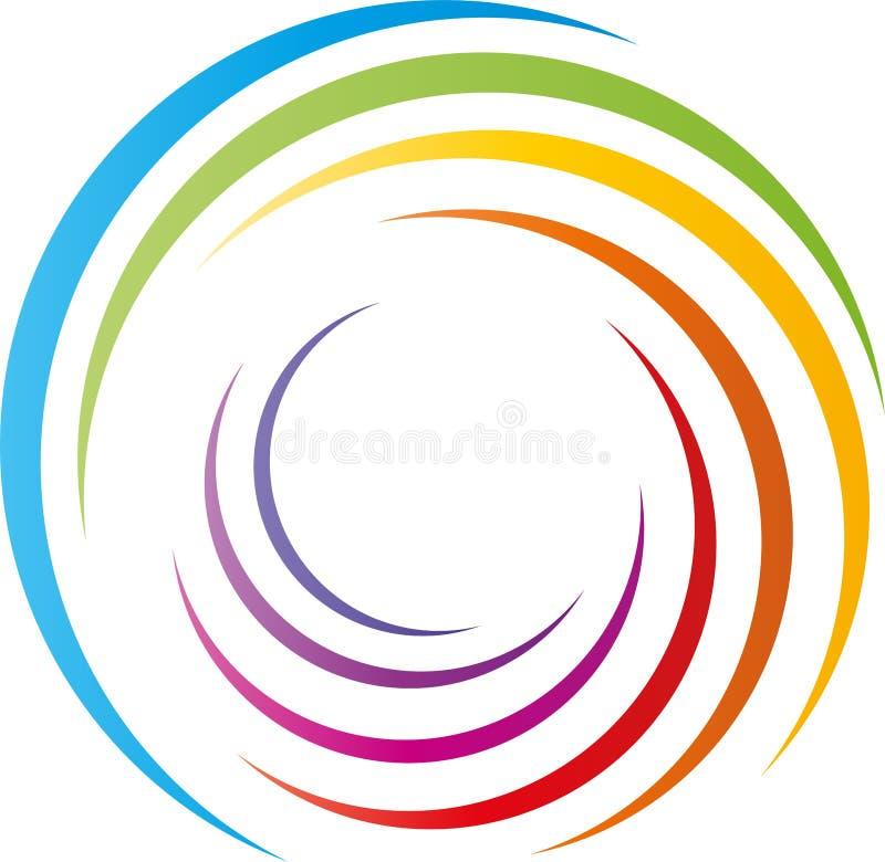 Spiral i regnbågefärger, målare och dagislogo royaltyfri illustrationer