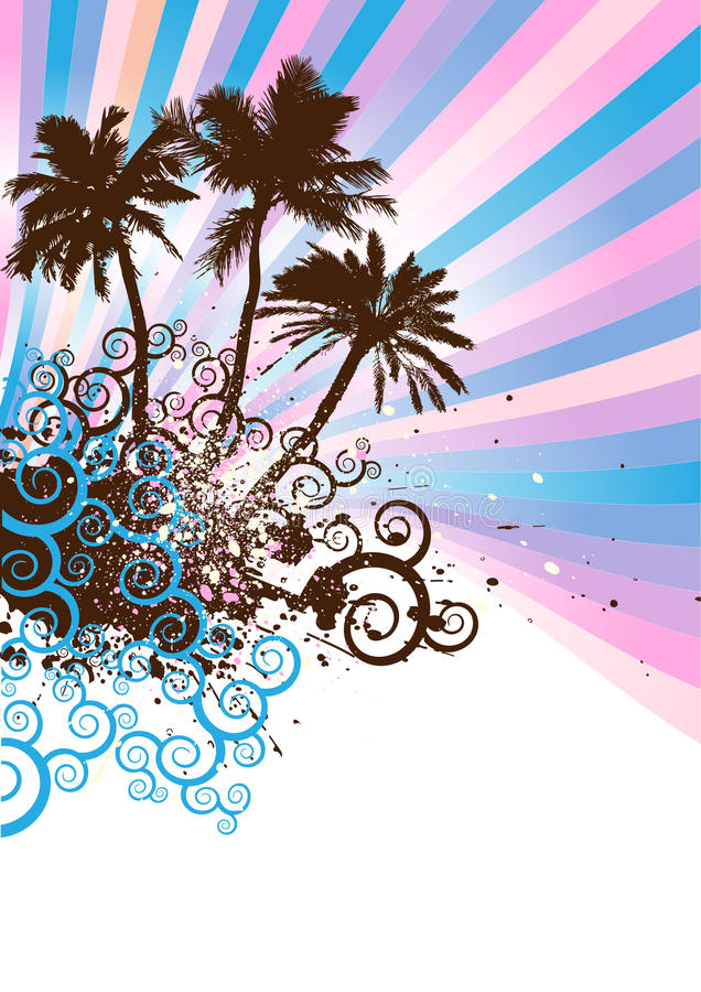 Spiral island vector. Tropical island and waves with spiral island in the summer,floral & grunge elements,vector illustration stock illustration
