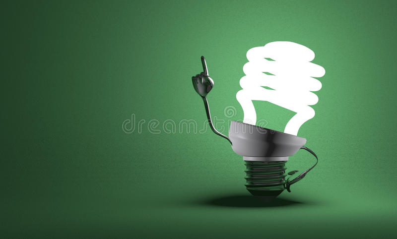 Spiral light bulb character in moment of insight vector illustration