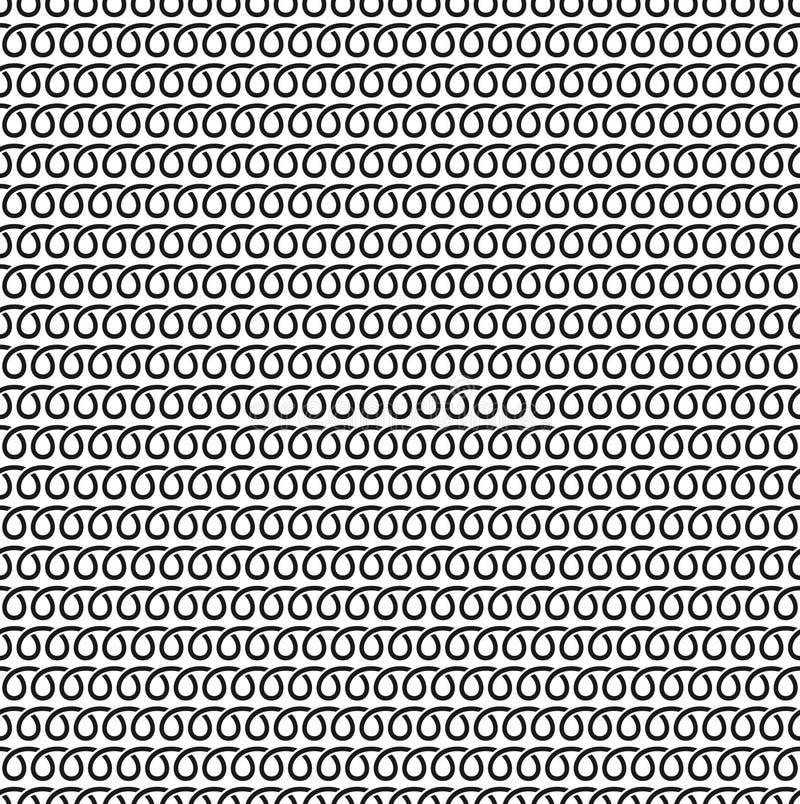 Spiral linjär sömlös svartvit modell royaltyfri illustrationer