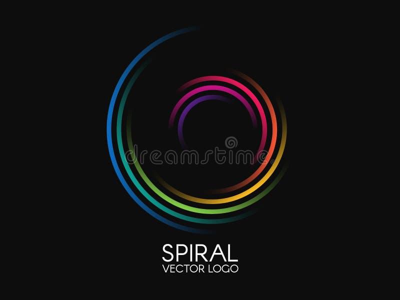 Spiral logo Rund logotypdesign Färgvirvel på svart bakgrund Dynamiskt formbegrepp Abstrakt färgrik beståndsdel stock illustrationer