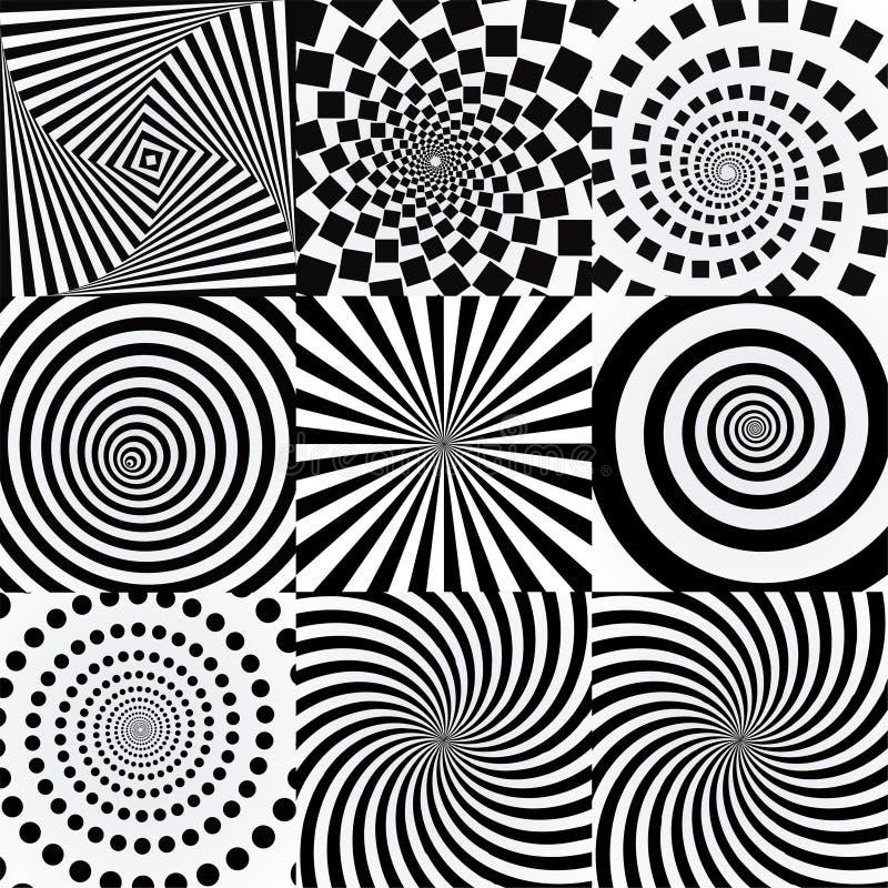 Spiral med virveleffekt Vridna futuristiska effekter vektor illustrationer