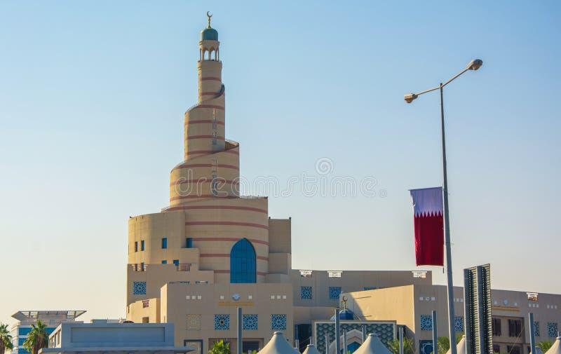 Spiral moské i fjärdedelen Souq Waqif, Doha, Qatar royaltyfri foto