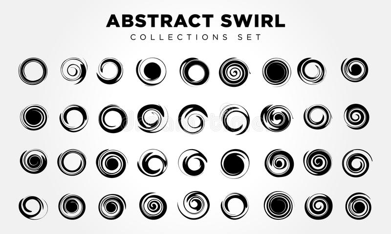 Spiral movement and rotation. Design elements set royalty free illustration