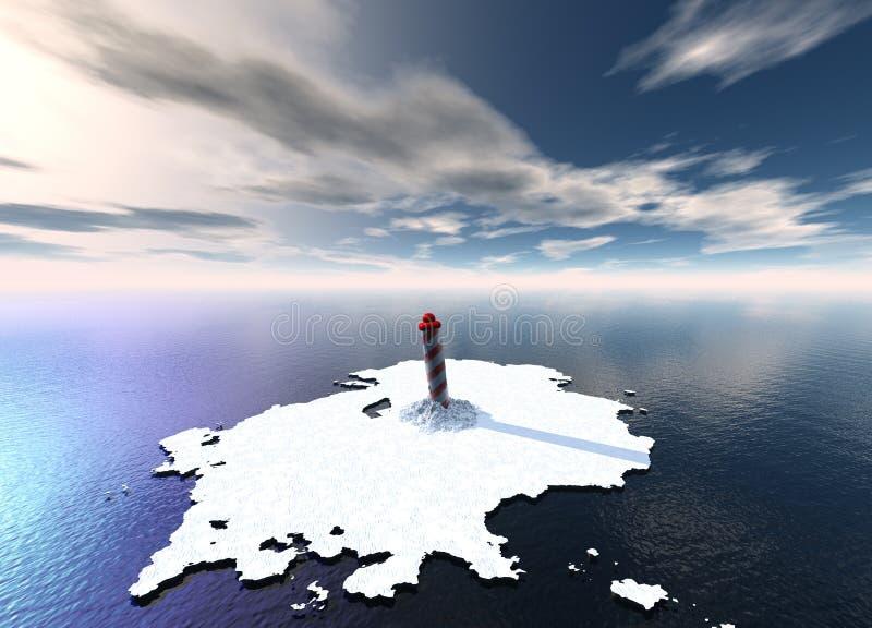 Spiral North Pole on Melted Icecap. Spiral North South Pole on Melted Icecap royalty free illustration