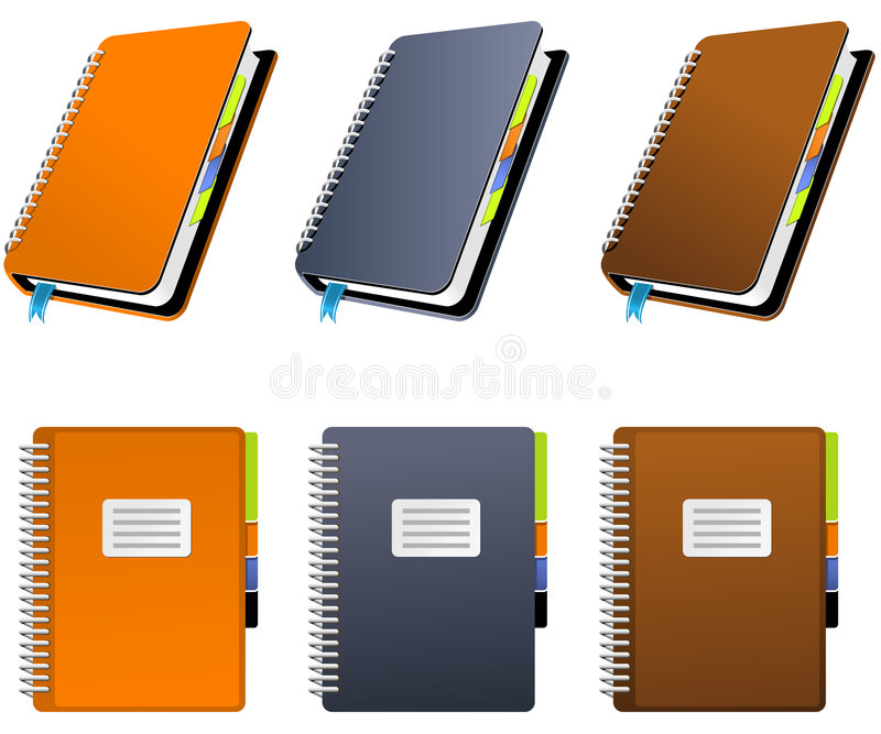 Spiral Notebook. In three different colors royalty free illustration