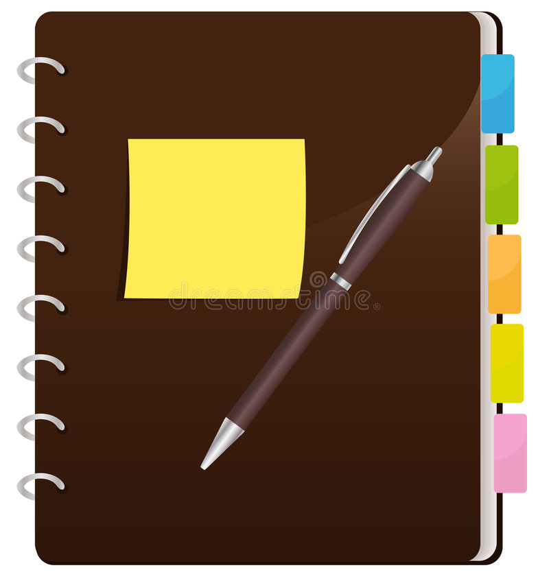 Spiral Notebook. Yellow Sticky Note And A Pen Resting On A Closed Brown Spiral Notebook With Colorful Divider Tabs royalty free illustration