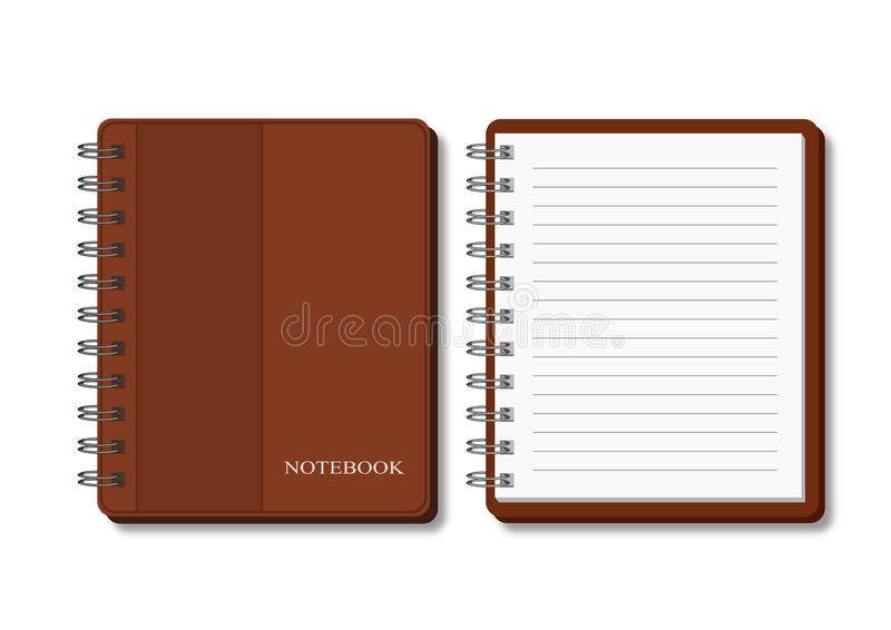Spiral notebook in brown cover - open and closed stock illustration