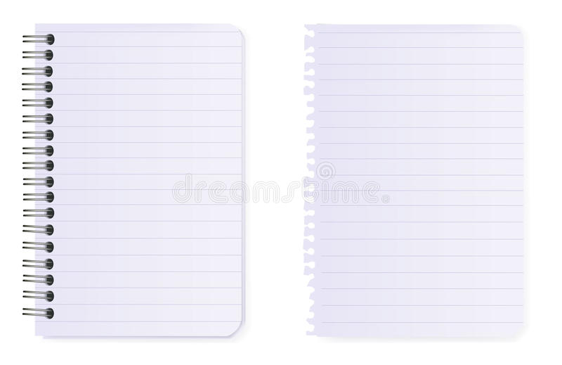 Spiral notebook and note paper. Vector. Spiral notebook and note paper. Vector illustration royalty free illustration