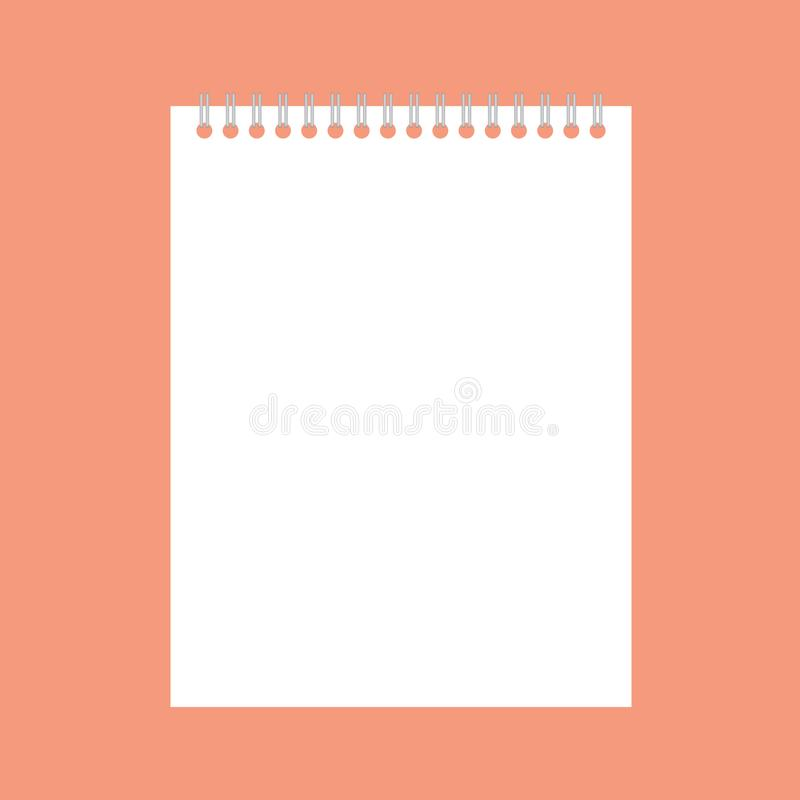 Spiral notebook-. Spiral notebook on orange background- vector illustration stock illustration