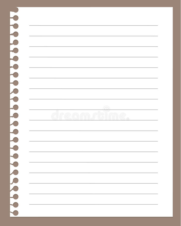 Spiral notebook paper. Spiral notebook page isolated on brown royalty free illustration