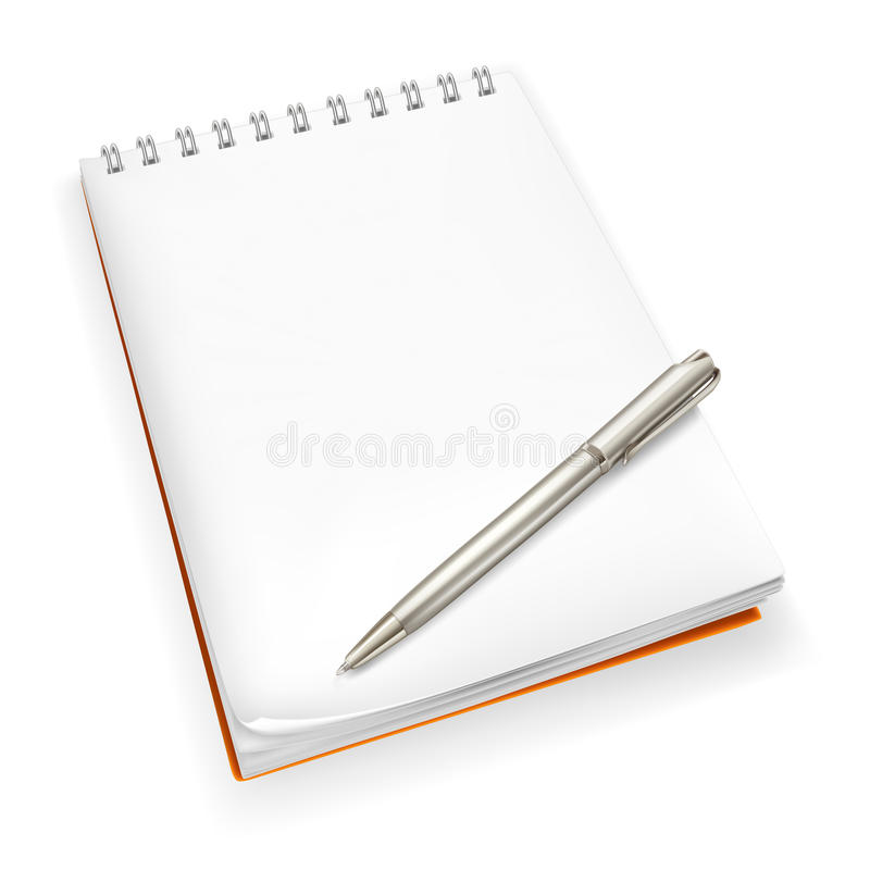 Spiral Notebook with pen. Isolated on the white royalty free illustration