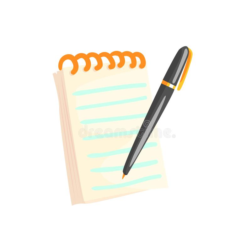 Spiral notebook with pen cartoon vector Illustration. On a white background stock illustration