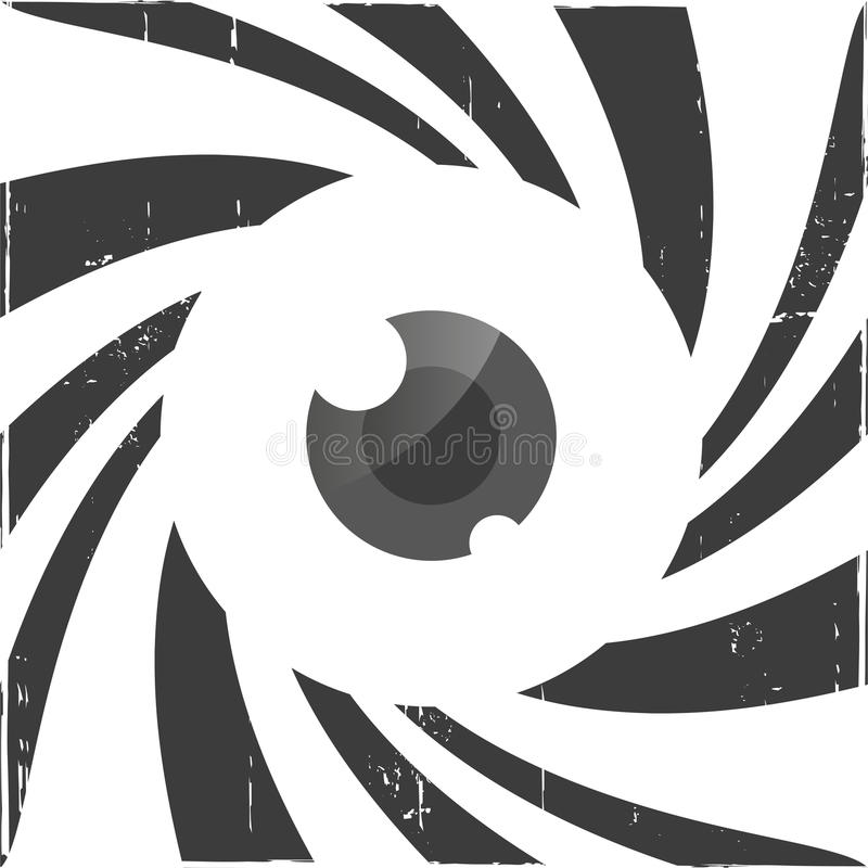 Spiral optisk illusion med ögat vektor illustrationer